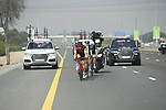 The breakaway group in action during Stage 3 The Silicon Oasis Stage of the Dubai Tour 2018 the Dubai Tour's 5th edition, running 180km from Skydive Dubai to Fujairah, Dubai, United Arab Emirates. 7th February 2018.<br /> Picture: LaPresse/Fabio Ferrari   Cyclefile<br /> <br /> <br /> All photos usage must carry mandatory copyright credit (© Cyclefile   LaPresse/Fabio Ferrari)