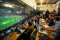 The press tribune during the 2017 DHL Lions Series 2nd test rugby match between the NZ All Blacks and British & Irish Lions at Westpac Stadium in Wellington, New Zealand on Saturday, 1 July 2017. Photo: Dave Lintott / lintottphoto.co.nz