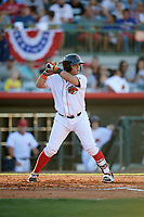 Florida Fire Frogs catcher Jonathan Morales (4) at bat during a game against the Daytona Tortugas on April 6, 2017 at Osceola County Stadium in Kissimmee, Florida.  Daytona defeated Florida 3-1.  (Mike Janes/Four Seam Images)