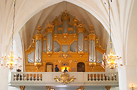 The Vaxjo cathedral church. the organ. Vaxjo town. Smaland region. Sweden, Europe.