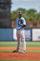 Tampa Bay Rays pitcher Taj Bradley (20) looks in for the sign during a Florida Instructional League game against the Baltimore Orioles on October 1, 2018 at the Charlotte Sports Park in Port Charlotte, Florida.  (Mike Janes/Four Seam Images)