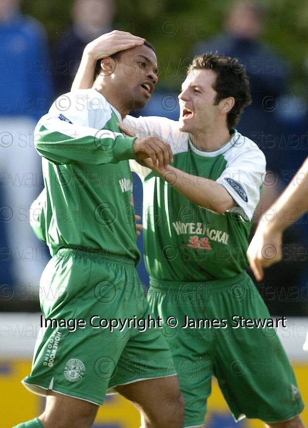 24/02/2007       Copyright Pic: James Stewart.File Name : sct_jspa12_qots_v_hibernian.THOMAS SOWUNMI IS CONGRATULATED BY IVAN SPROULE AFTER HE SCORES HIBS SECOND.....James Stewart Photo Agency 19 Carronlea Drive, Falkirk. FK2 8DN      Vat Reg No. 607 6932 25.Office     : +44 (0)1324 570906     .Mobile   : +44 (0)7721 416997.Fax         : +44 (0)1324 570906.E-mail  :  jim@jspa.co.uk.If you require further information then contact Jim Stewart on any of the numbers above.........