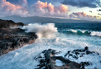 Waves and arch  with Molokai in background. Maui, Hawaii