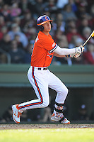 Clemson Tigers third baseman Weston Wilson #8 swings at a pitch during a game against the South Carolina Gamecocks at Fluor Field on March 1, 2014 in Greenville, South Carolina. The Gamecocks defeated the Tigers 10-2. (Tony Farlow/Four Seam Images)
