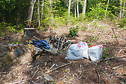 Poor leave no trace camping - How an abandoned campsite off of Fire Road 511 along the Kancamagus Scenic Byway in the White Mountains, New Hampshire looked after being picked up.