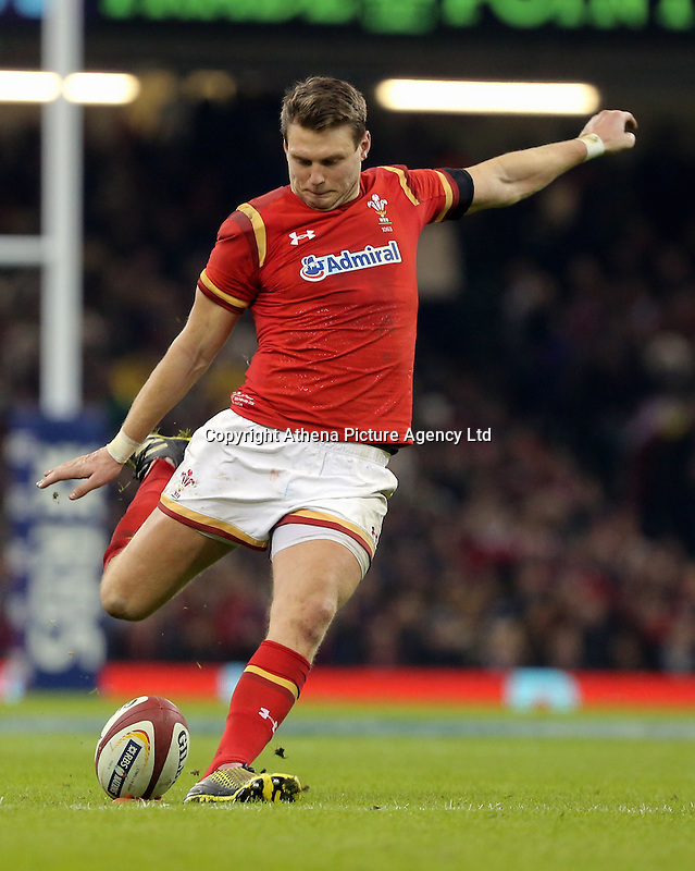Dan Biggar of Wales scores yet again with a kick during the RBS 6 Nations Championship rugby game between Wales and Scotland at the Principality Stadium, Cardiff, Wales, UK Saturday 13 February 2016