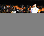 Valencia CF's Paco Alcacer  and UD Las Palmas' Raul Lizoain during spanish King's Cup match. January 21, 2016. (ALTERPHOTOS/Javier Comos)