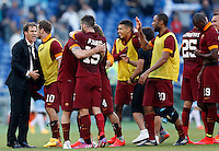 Calcio, Serie A: Lazio vs Roma. Roma, stadio Olimpico, 25 maggio 2015.<br /> Roma's coach Rudi Garcia, left, celebrates with his players at the end of the Italian Serie A football match between Lazio and Roma at Rome's Olympic stadium, 25 May 2015. Roma won 2-1.<br /> UPDATE IMAGES PRESS/Riccardo De Luca