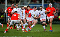 Friday 3rd January 2020 | Ulster Rugby vs Munster Rugby<br /> <br /> Jack McGrath on the charge is tackled by Shane Daly during the PRO14 Round 10 inter-pro clash between Ulster and Munster at Kingspan Stadium, Ravenhill Park, Belfast, Northern Ireland.  Photo by John Dickson / DICKSONDIGITAL