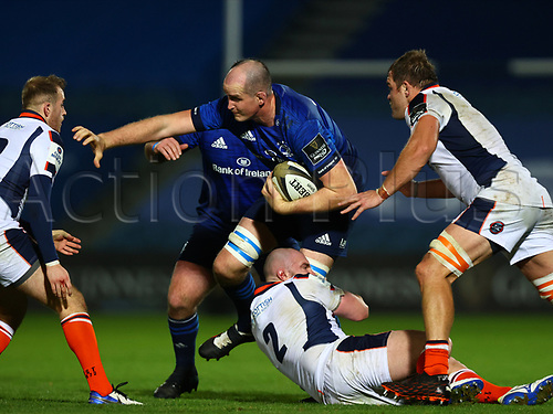 16th November 2020; RDS Arena, Dublin, Leinster, Ireland; Guinness Pro 14 Rugby, Leinster versus Edinburgh; Devin Toner (Leinster) attempts to push his way through the Edinburgh tackles
