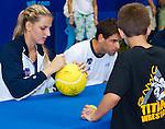 Karolina Pliskova signing autographs for kids following the Freedoms vs. Explorers WTT match in Villanova, PA on July 16, 2012
