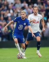 19th September 2021; Tottenham Hotspur Stadium, Tottenham, London; Jorginho breaks from Harry Kane during the Premier League match between Tottenham Hotspur and Chelsea at Tottenham Hotspur Stadium
