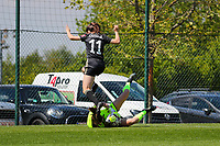 Goalkeeper Lisa Lichtfus (16) of Standard catches the ball and Estee Cattoor (11) of OHL jumps over her  during a female soccer game between Standard Femina de Liege and Oud Heverlee Leuven on the 10th and last matchday in play off 1 of the 2020 - 2021 season of Belgian Scooore Womens Super League , saturday 29 th of May 2021  in Angleur , Belgium . PHOTO SPORTPIX.BE   SPP   SEVIL OKTEM