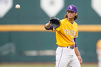 LSU Tigers pitcher Zac Person (49) against the TCU Horned Frogs in Game 10 of the NCAA College World Series on June 18, 2015 at TD Ameritrade Park in Omaha, Nebraska. TCU defeated the Tigers 8-4, eliminating LSU from the tournament. (Andrew Woolley/Four Seam Images)
