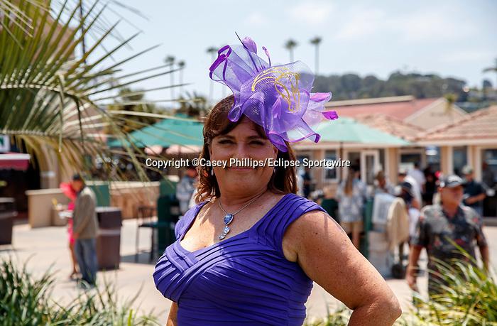 DEL MAR, CA  JULY 16: purple fascinator  (Photo by Casey Phillips/ Eclipse Sportswire/ CSM)