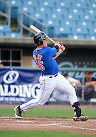 Catcher Chase Vallot (25) of St. Thomas More High School in Lafayette, Louisiana playing for the New York Mets scout team during the East Coast Pro Showcase on August 1, 2013 at NBT Bank Stadium in Syracuse, New York.  (Mike Janes/Four Seam Images)
