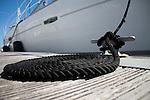 Dock rope coiled sailboat black dock line