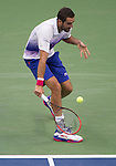 Marin Cilic (CRO) loses to Novak Djokovic (SRB) 6-0, 6-1, 6-2 at the US Open in Flushing, NY on September 11, 2015.