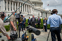 House Minority Leader Rep. Kevin McCarthy (R-Calif.) holds a media availability with House Minority Whip Rep. Steve Scalise (R-LA), House GOP Conference Chairwoman Liz Cheney (R-WY) and others, to announce that Republican leaders have filed a lawsuit against House Speaker Nancy Pelosi and congressional officials in an effort to block the House of Representatives from using a proxy voting system to allow for remote voting during the coronavirus pandemic, outside of the U.S. Capitol in Washington, DC., Wednesday, May 27, 2020. Credit: Rod Lamkey / CNP/AdMedia
