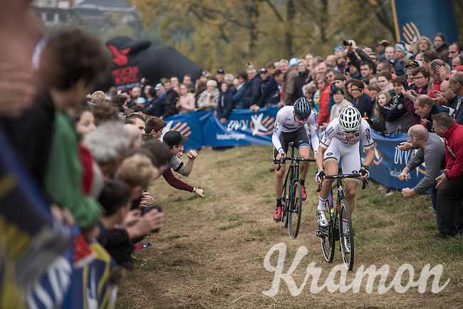 World Champion Wout Van Aert (BEL/Crelan-Vastgoedservice) leading ahead of fresh European Champion Toon Aerts (BEL/Telenet-Fidea)<br /> <br /> 25th Koppenbergcross 2016