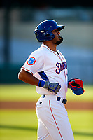 Tennessee Smokies right fielder Brennen Davis (21) jogs to first base against the Rocket City Trash Pandas at Smokies Stadium on June 12, 2021, in Kodak, Tennessee. (Danny Parker/Four Seam Images)