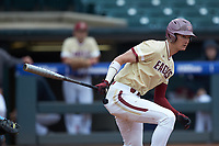 Mitch Bigras (4) of the Boston College Eagles follows through on his swing against the North Carolina Tar Heels in Game Five of the 2017 ACC Baseball Championship at Louisville Slugger Field on May 25, 2017 in Louisville, Kentucky. The Tar Heels defeated the Eagles 10-0 in a game called after 7 innings by the Mercy Rule. (Brian Westerholt/Four Seam Images)