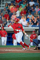 Williamsport Crosscutters right fielder Jhailyn Ortiz (18) hits an RBI double during a game against the Mahoning Valley Scrappers on July 8, 2017 at BB&T Ballpark at Historic Bowman Field in Williamsport, Pennsylvania.  Williamsport defeated Mahoning Valley 6-1.  (Mike Janes/Four Seam Images)