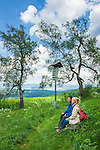 Germany, Thuringia, near Kuehndorf: Rhoen-Rennstein-Hiking-Trail, atop Dolmar mountain | Deutschland, Thueringen, bei Kuehndorf: Rhoen-Rennstein-Weg von der Wasserkuppe bis Oberhauf, hier auf dem Dolmar bei Kuehndorf