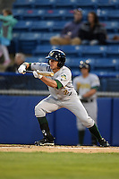 Lynchburg Hillcats outfielder Kyle Wren (2) attempts to lay down a bunt during a game against the Salem Red Sox on April 25, 2014 at Lewisgale Field in Salem, Virginia.  Salem defeated Lynchburg 10-0.  (Mike Janes/Four Seam Images)