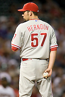 Philadelphia Phillies pitcher David Herndon #57 during the Major League Baseball game against the Houston Astros at Minute Maid Park in Houston, Texas on September 13, 2011. Houston defeated Philadelphia 5-2.  (Andrew Woolley/Four Seam Images)