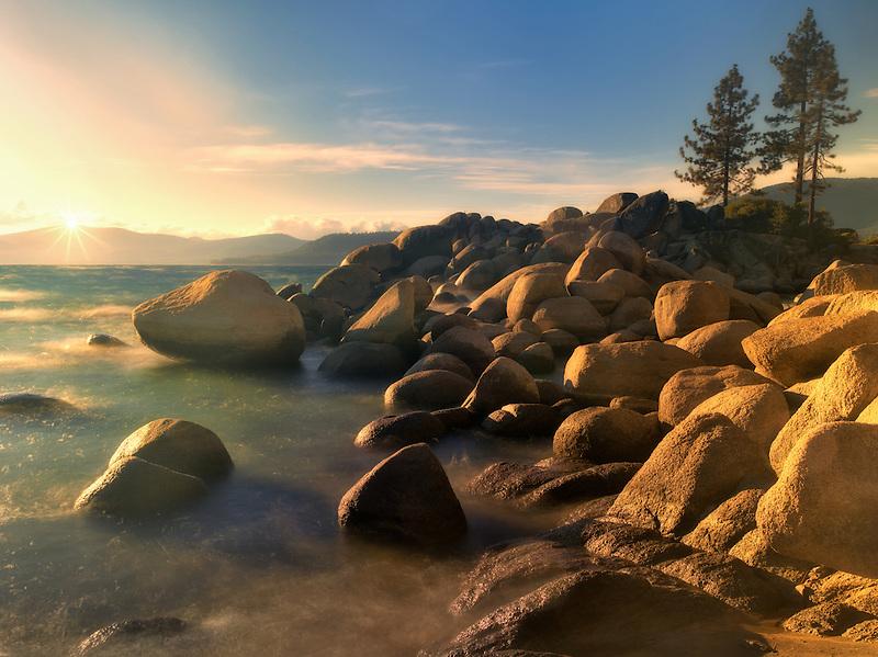 Sunset and rocks on Lake Tahoe. Sand Harbor State Park, Nevada