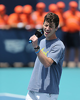 MIAMI GARDENS, FLORIDA - APRIL 04: (NO SALES TO NEW YORK POST) Hubert Hurkacz of Poland defeats Jannik Sinner of Italy during the men's singles final at the Miami Open at Hard Rock Stadium. on April 04, 2021 in Miami Gardens, Florida.<br /> <br /> <br /> People:  Singer National Anthem Credit: hoo-me / MediaPunch