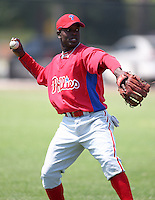 March 30, 2010:  Infielder Luis Paulino of the Philadelphia Phillies organization during Spring Training at the Carpenter Complex in Clearwater, FL.  Photo By Mike Janes/Four Seam Images