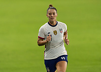 ORLANDO, FL - JANUARY 22: Ali Krieger #11 runs into the tunnel at half during a game between Colombia and USWNT at Exploria stadium on January 22, 2021 in Orlando, Florida.