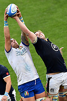 Niccolo Cannone of Italy and Jonny Gray of Scotland compete for the ball during the rugby Autumn Nations Cup's match between Italy and Scotland at Stadio Artemio Franchi on November 14, 2020 in Florence, Italy. Photo Andrea Staccioli / Insidefoto