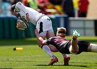 29th May 2021; Twickenham Stoop, London, England; English Premiership Rugby, Harlequins versus Bath; Kenningham of Harlequins making a telling tackle on Max Ojomoh of Bath