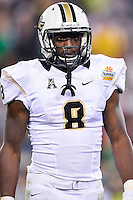 January 01, 2014:<br /> <br /> UCF Knights running back Storm Johnson #8 during Tostitos Fiesta Bowl at University of Phoenix Stadium in Scottsdale, AZ. UCF defeat Baylor 52-42 to claim it's first ever BCS Bowl trophy.