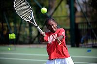 Jordayne McGowan-Paul during a training session with Dan Bloxham, Head Coach, at Wimbledon, The All England Lawn Tennis Club (AELTC), London...
