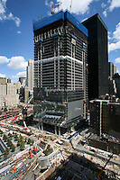 Tenth anniversary of 9/11.  Rebuilding at the World Trade Center site.  Under-construction 4 WTC, with the former Deutsche Bank site in foreground. When construction is complete, Greenwich Street, foreground, will once again connect through the complex. Photo by Ari Mintz.  8/22/2011.