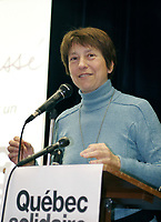 February 26 th, 2006, Montreal (Qc) CANADA<br /> Francoise David, Quebec Solidaire<br /> <br /> Photo : Delphine Descamps - AQP