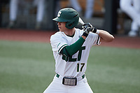 Todd Elwood (17) of the Charlotte 49ers at bat against the Old Dominion Monarchs at Hayes Stadium on April 23, 2021 in Charlotte, North Carolina. (Brian Westerholt/Four Seam Images)
