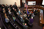 Nevada National Guard's joint color guard presents the colors during the opening ceremony of the Always Lost: A Meditation on War exhibit at the Legislative Building in Carson City, Nev., on Monday, April 6, 2015. <br />