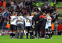 ATTENTION SPORTS PICTURE DESK<br /> Pictured: Swansea City team talk at full time<br /> Re: Coca Cola Championship, Swansea City Football Club v Cardiff City FC at the Liberty Stadium, Swansea, south Wales. Saturday 07 November 2009