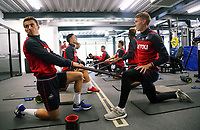 (L-R) Tom Carroll and Jay Fulton exercise in the gym during the Swansea City Training and Press Conference at The Fairwood Training Ground, Swansea, Wales, UK. Thursday 24 August 2017