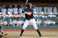CHAPEL HILL, NC - FEBRUARY 27: Zack Gelof #18 of Virginia waits for a pitch during a game between Virginia and North Carolina at Boshamer Stadium on February 27, 2021 in Chapel Hill, North Carolina.