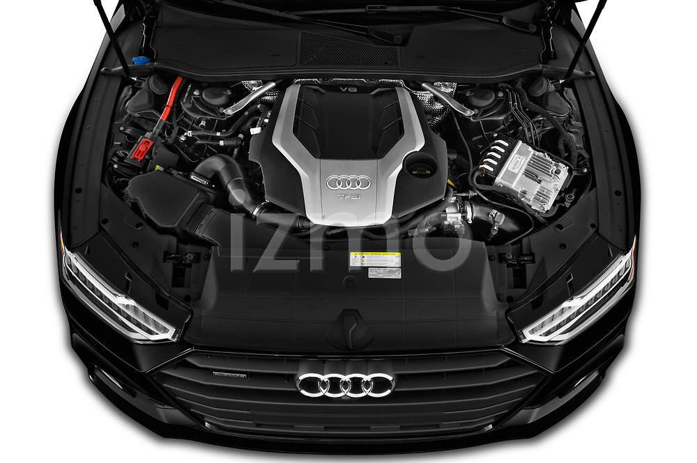 Car Stock 2020 Audi A7 Premium-Plus 5 Door Hatchback Engine  high angle detail view