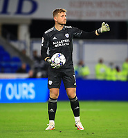 28th September 2021; Cardiff City Stadium, Cardiff, Wales;  EFL Championship football, Cardiff versus West Bromwich Albion; Dillon Phillips of Cardiff City gives instructions before the long kick