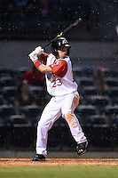 Arkansas Travelers second baseman Vance Albitz (23) at bat during a game against the San Antonio Missions on May 24, 2014 at Dickey-Stephens Park in Little Rock, Arkansas.  Arkansas defeated San Antonio 4-2.  (Mike Janes/Four Seam Images)