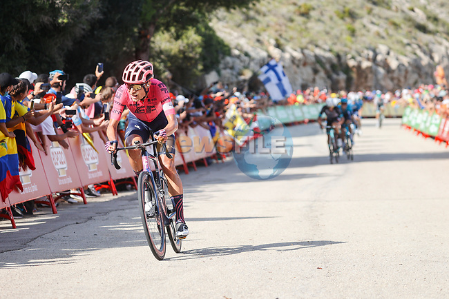 Magnus Cort Nielsen (DEN) EF Education-Nippo from the breakaway out front on the final climb during Stage 6 of La Vuelta d'Espana 2021, running 158.3km from Requena to Alto de la Montaña Cullera, Spain. 19th August 2021.    <br /> Picture: Luis Angel Gomez/Photogomezsport | Cyclefile<br /> <br /> All photos usage must carry mandatory copyright credit (© Cyclefile | Luis Angel Gomez/Photogomezsport)