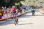 Magnus Cort Nielsen (DEN) EF Education-Nippo from the breakaway out front on the final climb during Stage 6 of La Vuelta d'Espana 2021, running 158.3km from Requena to Alto de la Montaña Cullera, Spain. 19th August 2021.    <br /> Picture: Luis Angel Gomez/Photogomezsport   Cyclefile<br /> <br /> All photos usage must carry mandatory copyright credit (© Cyclefile   Luis Angel Gomez/Photogomezsport)